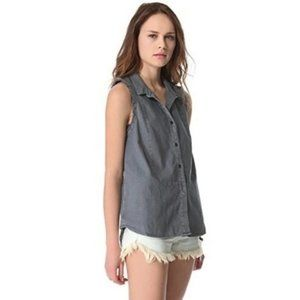 Free People Linen Button Front Sleeveless Top